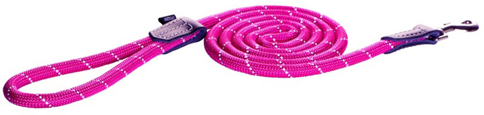 Поводок для собак Rogz  Rope  , удлиненный, цвет: розовый, ширина 1,2 см. Размер L - Товары для прогулки и дрессировки (амуниция)