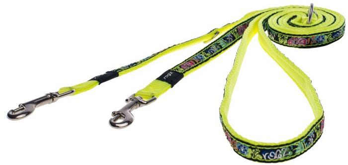 Поводок-перестежка для собак Rogz Fancy Dress, цвет: черный, желтый, ширина 1,1 см. Размер SHLM01BUМногофункциональный поводок-перестежку можно использовать как: поводок для двух собак; короткий, средний или удлиненный поводок (1 м, 1.3 м, 1.6 м); поводок через плечо; временную привязь.Выполненные по заказу литые кольца выдерживают значительные физические нагрузки и имеют хромирование, нанесенное гальваническим способом, что позволяет избежать коррозии и потускнения изделия.
