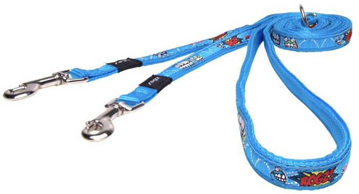 Поводок-перестежка для собак Rogz Fancy Dress, цвет: голубой, ширина 1,1 см. Размер S поводок для собак rogz utility цвет желтый ширина 1 1 см размер s