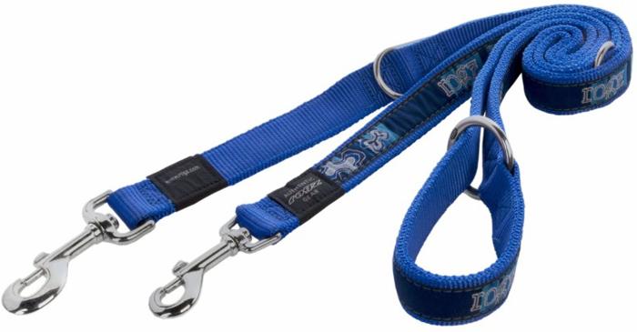 Поводок-перестежка для собак Rogz Fancy Dress, цвет: синий, ширина 2,5 см. Размер XL поводок перестежка для собак rogz reflecto цвет голубой ширина 8 мм размер xs