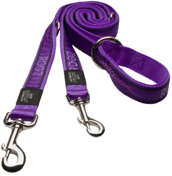 Поводок-перестежка для собак Rogz Fancy Dress, цвет: фиолетовый, ширина 1,6 см. Размер M. HLM12BJ поводок перестежка для собак rogz yo yo цвет розовый ширина 1 6 см размер m