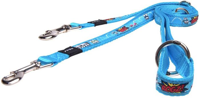 Поводок-перестежка для собак Rogz Fancy Dress, цвет: голубой, ширина 1,6 см. Размер MHLM12BXМногофункциональный поводок-перестежку можно использовать как: поводок для двух собак; короткий, средний или удлиненный поводок (1 м, 1.3 м, 1.6 м); поводок через плечо; временную привязь.Выполненные по заказу литые кольца выдерживают значительные физические нагрузки и имеют хромирование, нанесенное гальваническим способом, что позволяет избежать коррозии и потускнения изделия.