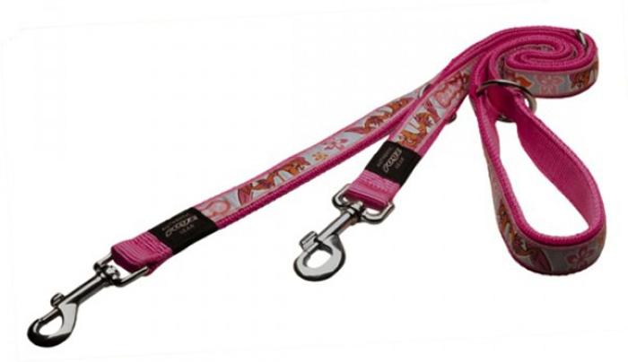 Поводок-перестежка для собак Rogz Fancy Dress, цвет: розовый, ширина 1,6 см. Размер MHLM12KМногофункциональный поводок-перестежку можно использовать как: поводок для двух собак; короткий, средний или удлиненный поводок (1 м, 1.3 м, 1.6 м); поводок через плечо; временную привязь.Выполненные по заказу литые кольца выдерживают значительные физические нагрузки и имеют хромирование, нанесенное гальваническим способом, что позволяет избежать коррозии и потускнения изделия.