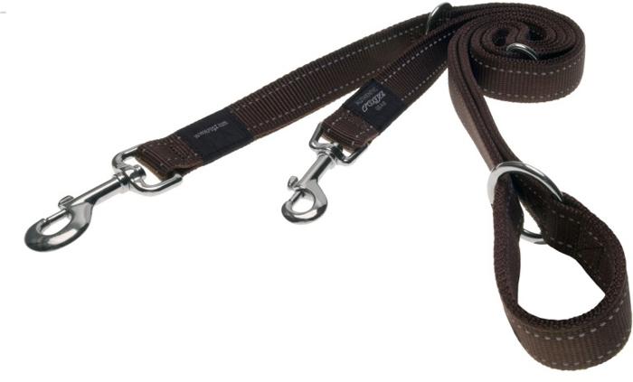 Поводок-перестежка для собак Rogz  Utility , цвет: коричневый, ширина 1,1 см. Размер S - Товары для прогулки и дрессировки (амуниция)