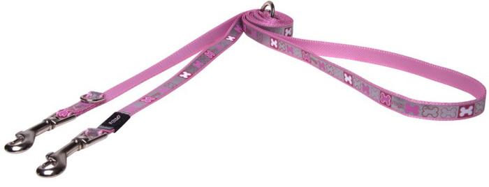 Поводок-перестежка для собак Rogz Reflecto, цвет: розовый, ширина 1,2 см. Размер S поводок для собак rogz utility цвет желтый ширина 1 1 см размер s