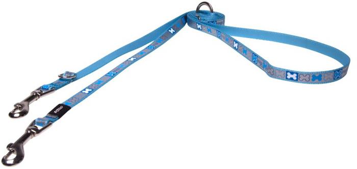 Поводок-перестежка для собак Rogz Reflecto, цвет: голубой, ширина 1,2 см. Размер S zipit рюкзак reflecto со светоотражающим отделением