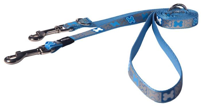 Поводок-перестежка для собак Rogz Reflecto, цвет: голубой, ширина 1,6 см. Размер MHLM243YПоводок-перестежка изготовлен из очень мягкого, но прочного нейлона, который не причинит неудобства собаке. Высококачественная тесьма особого плетения, удивительно мягкая на ощупь.Все соединения деталей имеют специальную дополнительную строчку для большей прочности.Выполненные по заказу литые кольца выдерживают значительные физические нагрузки и имеют хромирование, нанесенное гальваническим способом, что позволяет избежать коррозии и потускнения изделия.Многофункциональный поводок-перестежку можно использовать как: поводок для двух собак; короткий, средний или удлиненный поводок (1 м, 1.3 м, 1.6 м); поводок через плечо; временную привязь.