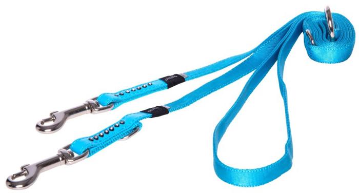 Поводок-перестежка для собак Rogz Luna , цвет: голубой, ширина 1,6 см. Размер SHLM501BМногофункциональный поводок-перестежку можно использовать как: поводок для двух собак; короткий, средний или удлиненный поводок; поводок через плечо; временную привязь.Выполненные по заказу литые кольца выдерживают значительные физические нагрузки и имеют хромирование, нанесенное гальваническим способом, что позволяет избежать коррозии и потускнения изделия.