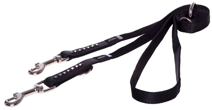 Поводок-перестежка для собак Rogz Luna, цвет: черный, ширина 1,6 см. Размер M поводок перестежка для собак rogz reflecto цвет голубой ширина 8 мм размер xs