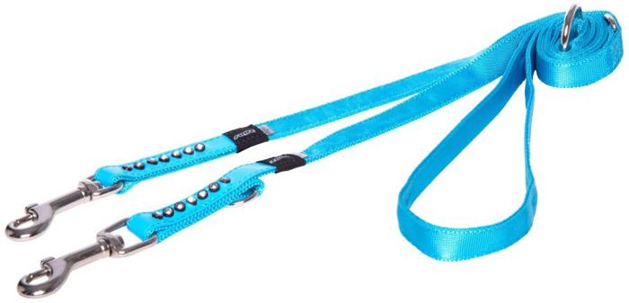 Поводок-перестежка для собак Rogz Luna, цвет: голубой, ширина 1,6 см. Размер MHLM503BМногофункциональный поводок-перестежку можно использовать как: поводок для двух собак; короткий, средний или удлиненный поводок; поводок через плечо; временную привязь.Выполненные по заказу литые кольца выдерживают значительные физические нагрузки и имеют хромирование, нанесенное гальваническим способом, что позволяет избежать коррозии и потускнения изделия.