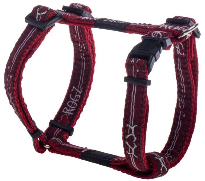 Шлейка для собак Rogz Fancy Dress, цвет: красный, ширина 1,1 см, обхват шеи 20-31 см, обхват груди 23-37 см. Размер SSJ01BTНеобычный дизайн. Широкая гамма потрясающе красивых орнаментов на прочной тесьме поверх нейлоновой ленты украсит вашего питомца.Застегивается, не доставляя неудобство собаке.Специальная конструкция пряжки Rog Loc - очень крепкая (система Fort Knox). Замок может быть расстегнут только рукой человека.С помощью системы ремней изделие подгоняется под животного индивидуально.Необыкновенно крепкая и прочная шлейка.Выполненные по заказу литые кольца выдерживают значительные физические нагрузки и имеют хромирование, нанесенное гальваническим способом, что позволяет избежать коррозии и потускнения изделия.Легко можно прикрепить к ошейнику и поводку.