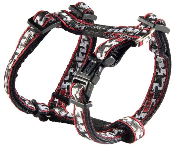 Шлейка для собак Rogz Fancy Dress, цвет: черный, белый, ширина 1,1 см, обхват шеи 20-31 см, обхват груди 23-37 см. Размер SSJ01BVНеобычный дизайн. Широкая гамма потрясающе красивых орнаментов на прочной тесьме поверх нейлоновой ленты украсит вашего питомца.Застегивается, не доставляя неудобство собаке.Специальная конструкция пряжки Rog Loc - очень крепкая (система Fort Knox). Замок может быть расстегнут только рукой человека.С помощью системы ремней изделие подгоняется под животного индивидуально.Необыкновенно крепкая и прочная шлейка.Выполненные по заказу литые кольца выдерживают значительные физические нагрузки и имеют хромирование, нанесенное гальваническим способом, что позволяет избежать коррозии и потускнения изделия.Легко можно прикрепить к ошейнику и поводку.