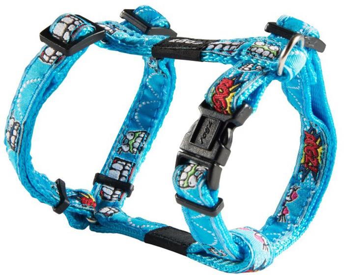 Шлейка для собак Rogz Fancy Dress, цвет: голубой, ширина 1,1 см, обхват шеи 20-31 см, обхват груди 23-37 см. Размер SSJ01BXНеобычный дизайн. Широкая гамма потрясающе красивых орнаментов на прочной тесьме поверх нейлоновой ленты украсит вашего питомца.Застегивается, не доставляя неудобство собаке.Специальная конструкция пряжки Rog Loc - очень крепкая (система Fort Knox). Замок может быть расстегнут только рукой человека.С помощью системы ремней изделие подгоняется под животного индивидуально.Необыкновенно крепкая и прочная шлейка.Выполненные по заказу литые кольца выдерживают значительные физические нагрузки и имеют хромирование, нанесенное гальваническим способом, что позволяет избежать коррозии и потускнения изделия.Легко можно прикрепить к ошейнику и поводку.