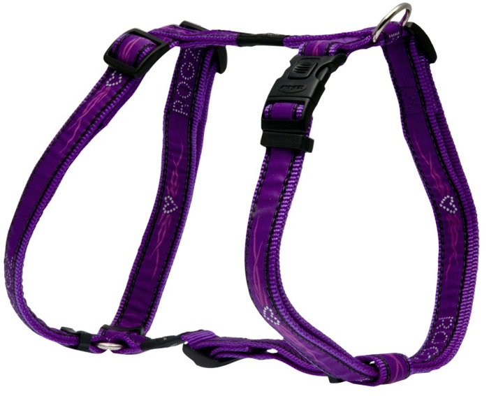 Шлейка для собак Rogz  Fancy Dress , цвет: фиолетовый, ширина 2,5 см, обхват шеи 43-70 см, обхват груди 60-100 см. Размер XL - Товары для прогулки и дрессировки (амуниция)