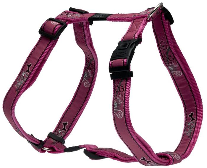Шлейка для собак Rogz Fancy Dress, цвет: розовый, ширина 2,5 см, обхват шеи 43-70 см, обхват груди 60-100 см. Размер XL. SJ02BNSJ02BNНеобычный дизайн. Широкая гамма потрясающе красивых орнаментов на прочной тесьме поверх нейлоновой ленты украсит вашего питомца.Застегивается, не доставляя неудобство собаке.Специальная конструкция пряжки Rog Loc - очень крепкая (система Fort Knox). Замок может быть расстегнут только рукой человека.С помощью системы ремней изделие подгоняется под животного индивидуально.Необыкновенно крепкая и прочная шлейка.Выполненные по заказу литые кольца выдерживают значительные физические нагрузки и имеют хромирование, нанесенное гальваническим способом, что позволяет избежать коррозии и потускнения изделия.Легко можно прикрепить к ошейнику и поводку.