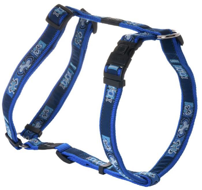 Шлейка для собак Rogz Fancy Dress, цвет: синий, ширина 2,5 см, обхват шеи 43-70 см, обхват груди 60-100 см. Размер XLSJ02BPНеобычный дизайн. Широкая гамма потрясающе красивых орнаментов на прочной тесьме поверх нейлоновой ленты украсит вашего питомца.Застегивается, не доставляя неудобство собаке.Специальная конструкция пряжки Rog Loc - очень крепкая (система Fort Knox). Замок может быть расстегнут только рукой человека.С помощью системы ремней изделие подгоняется под животного индивидуально.Необыкновенно крепкая и прочная шлейка.Выполненные по заказу литые кольца выдерживают значительные физические нагрузки и имеют хромирование, нанесенное гальваническим способом, что позволяет избежать коррозии и потускнения изделия.Легко можно прикрепить к ошейнику и поводку.