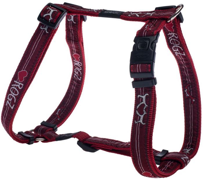 Шлейка для собак Rogz Fancy Dress, цвет: красный, ширина 2,5 см, обхват шеи 43-70 см, обхват груди 60-100 см. Размер XLSJ02BTНеобычный дизайн. Широкая гамма потрясающе красивых орнаментов на прочной тесьме поверх нейлоновой ленты украсит вашего питомца.Застегивается, не доставляя неудобство собаке.Специальная конструкция пряжки Rog Loc - очень крепкая (система Fort Knox). Замок может быть расстегнут только рукой человека.С помощью системы ремней изделие подгоняется под животного индивидуально.Необыкновенно крепкая и прочная шлейка.Выполненные по заказу литые кольца выдерживают значительные физические нагрузки и имеют хромирование, нанесенное гальваническим способом, что позволяет избежать коррозии и потускнения изделия.Легко можно прикрепить к ошейнику и поводку.