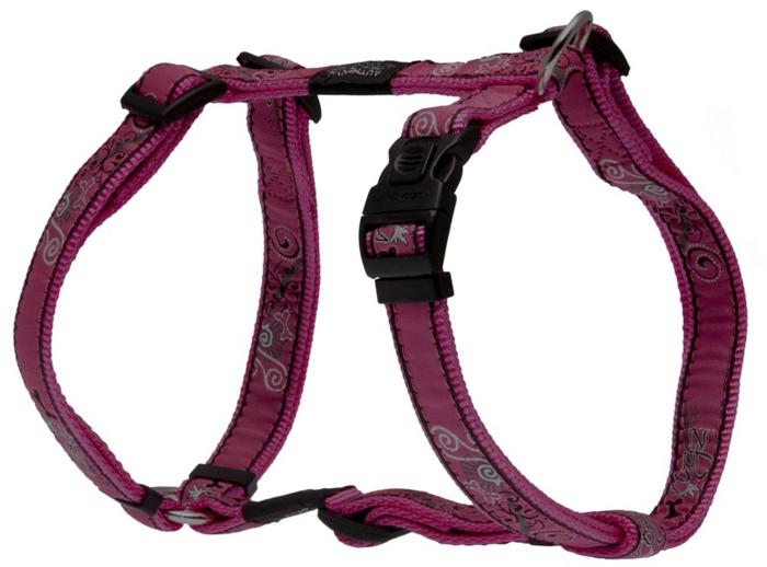 Шлейка для собак Rogz Fancy Dress, цвет: розовый, ширина 2 см, обхват шеи 34-56 см, обхват груди 45-75 см. Размер LSJ03BNНеобычный дизайн. Широкая гамма потрясающе красивых орнаментов на прочной тесьме поверх нейлоновой ленты украсит вашего питомца.Застегивается, не доставляя неудобство собаке.Специальная конструкция пряжки Rog Loc - очень крепкая (система Fort Knox). Замок может быть расстегнут только рукой человека.С помощью системы ремней изделие подгоняется под животного индивидуально.Необыкновенно крепкая и прочная шлейка.Выполненные по заказу литые кольца выдерживают значительные физические нагрузки и имеют хромирование, нанесенное гальваническим способом, что позволяет избежать коррозии и потускнения изделия.Легко можно прикрепить к ошейнику и поводку.
