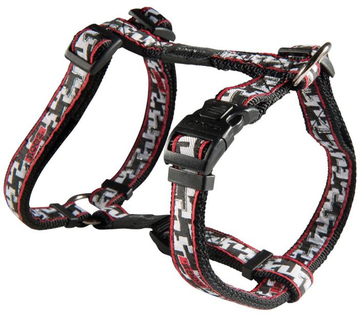 Шлейка для собак Rogz Fancy Dress, цвет: черный, белый, ширина 2 см, обхват шеи 34-56 см, обхват груди 45-75 см. Размер LSJ03BVНеобычный дизайн. Широкая гамма потрясающе красивых орнаментов на прочной тесьме поверх нейлоновой ленты украсит вашего питомца.Застегивается, не доставляя неудобство собаке.Специальная конструкция пряжки Rog Loc - очень крепкая (система Fort Knox). Замок может быть расстегнут только рукой человека.С помощью системы ремней изделие подгоняется под животного индивидуально.Необыкновенно крепкая и прочная шлейка.Выполненные по заказу литые кольца выдерживают значительные физические нагрузки и имеют хромирование, нанесенное гальваническим способом, что позволяет избежать коррозии и потускнения изделия.Легко можно прикрепить к ошейнику и поводку.