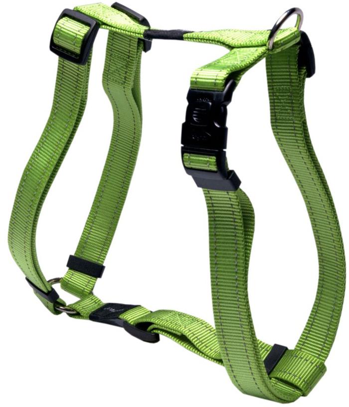 Шлейка для собак Rogz Utility, цвет: зеленый, ширина 2,5 см, обхват шеи 43-80 см, обхват груди 60-100 см. Размер XLSJ05LВидимость ночью. Светоотражающая нить, вплетенная в нейлоновую ленту - для обеспечения лучшей видимости собаки в темное время суток. Специальная конструкция пряжки Rog Loc - очень крепкая (система Fort Knox). Замок может быть расстегнут только рукой человека. Технология распределения нагрузки позволяет снизить нагрузку на пряжки, изготовленные из титанового пластика, с помощью правильного и разумного расположения грузовых колец, благодаря чему, даже при самых сильных рывках, изделие не рвется и не деформируется.Выполненные специально по заказу ROGZ литые кольца гальванически хромированы, что позволяет избежать коррозии и потускнения изделия.