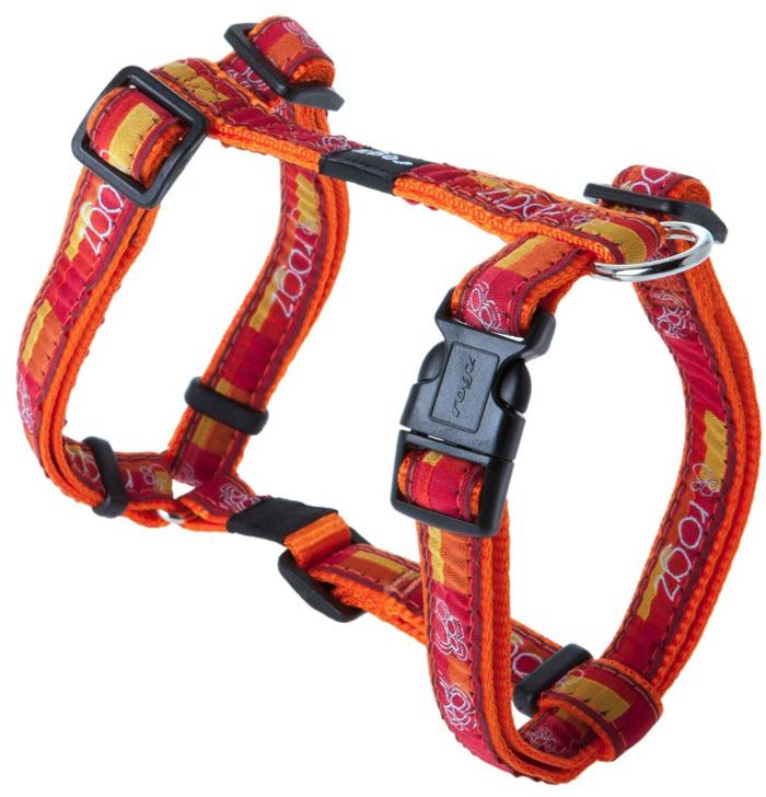 Шлейка для собак Rogz Fancy Dress, цвет: оранжевый, ширина 1,6 см, обхват шеи 26-40 см, обхват груди 32-52 см. Размер LSJ12BQНеобычный дизайн. Широкая гамма потрясающе красивых орнаментов на прочной тесьме поверх нейлоновой ленты украсит вашего питомца.Застегивается, не доставляя неудобство собаке.Специальная конструкция пряжки Rog Loc - очень крепкая (система Fort Knox). Замок может быть расстегнут только рукой человека.С помощью системы ремней изделие подгоняется под животного индивидуально.Необыкновенно крепкая и прочная шлейка.Выполненные по заказу литые кольца выдерживают значительные физические нагрузки и имеют хромирование, нанесенное гальваническим способом, что позволяет избежать коррозии и потускнения изделия.Легко можно прикрепить к ошейнику и поводку.