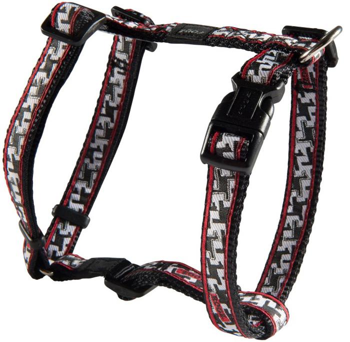 Шлейка для собак Rogz Fancy Dress, цвет: черный, белый, ширина 1,6 см, обхват шеи 26-40 см, обхват груди 32-52 см. Размер LSJ12BVНеобычный дизайн. Широкая гамма потрясающе красивых орнаментов на прочной тесьме поверх нейлоновой ленты украсит вашего питомца.Застегивается, не доставляя неудобство собаке.Специальная конструкция пряжки Rog Loc - очень крепкая (система Fort Knox). Замок может быть расстегнут только рукой человека.С помощью системы ремней изделие подгоняется под животного индивидуально.Необыкновенно крепкая и прочная шлейка.Выполненные по заказу литые кольца выдерживают значительные физические нагрузки и имеют хромирование, нанесенное гальваническим способом, что позволяет избежать коррозии и потускнения изделия.Легко можно прикрепить к ошейнику и поводку.