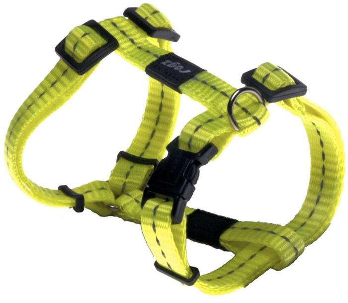 Шлейка для собак Rogz Utility, цвет: желтый, ширина 1,1 см, обхват шеи 20-31 см, обхват груди 23-37 см. Размер SSJ14HВидимость ночью. Светоотражающая нить, вплетенная в нейлоновую ленту - для обеспечения лучшей видимости собаки в темное время суток. Специальная конструкция пряжки Rog Loc - очень крепкая (система Fort Knox). Замок может быть расстегнут только рукой человека. Технология распределения нагрузки позволяет снизить нагрузку на пряжки, изготовленные из титанового пластика, с помощью правильного и разумного расположения грузовых колец, благодаря чему, даже при самых сильных рывках, изделие не рвется и не деформируется.Выполненные специально по заказу ROGZ литые кольца гальванически хромированы, что позволяет избежать коррозии и потускнения изделия.