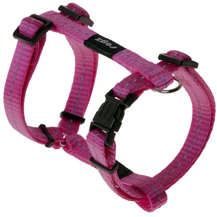 Шлейка для собак Rogz Utility, цвет: розовый, ширина 1,1 см, обхват шеи 20-31 см, обхват груди 23-37 см. Размер SSJ14KВидимость ночью. Светоотражающая нить, вплетенная в нейлоновую ленту - для обеспечения лучшей видимости собаки в темное время суток. Специальная конструкция пряжки Rog Loc - очень крепкая (система Fort Knox). Замок может быть расстегнут только рукой человека. Технология распределения нагрузки позволяет снизить нагрузку на пряжки, изготовленные из титанового пластика, с помощью правильного и разумного расположения грузовых колец, благодаря чему, даже при самых сильных рывках, изделие не рвется и не деформируется.Выполненные специально по заказу ROGZ литые кольца гальванически хромированы, что позволяет избежать коррозии и потускнения изделия.