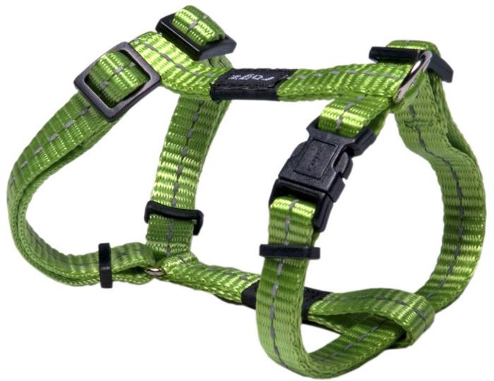Шлейка для собак Rogz Utility, цвет: зеленый, ширина 1,1 см, обхват шеи 20-31 см, обхват груди 23-37 см. Размер SSJ14LВидимость ночью. Светоотражающая нить, вплетенная в нейлоновую ленту - для обеспечения лучшей видимости собаки в темное время суток. Специальная конструкция пряжки Rog Loc - очень крепкая (система Fort Knox). Замок может быть расстегнут только рукой человека. Технология распределения нагрузки позволяет снизить нагрузку на пряжки, изготовленные из титанового пластика, с помощью правильного и разумного расположения грузовых колец, благодаря чему, даже при самых сильных рывках, изделие не рвется и не деформируется.Выполненные специально по заказу ROGZ литые кольца гальванически хромированы, что позволяет избежать коррозии и потускнения изделия.