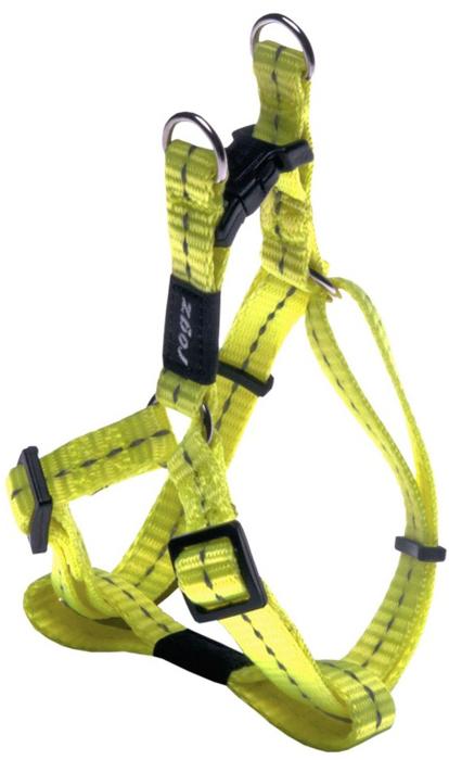 Шлейка для собак Rogz Utility, разъемная, цвет: желтый, ширина 1,1 см, обхват шеи 20-31 см, обхват груди 23-37 см. Размер SSSJ14HВидимость ночью. Светоотражающая нить, вплетенная в нейлоновую ленту для обеспечения лучшей видимости собаки в темное время суток. Специальная конструкция пряжки Rog Loc - очень крепкая (система Fort Knox). Замок может быть расстегнут только рукой человека. Технология распределения нагрузки позволяет снизить нагрузку на пряжки, изготовленные из титанового пластика, с помощью правильного и разумного расположения грузовых колец, благодаря чему, даже при самых сильных рывках, изделие не рвется и не деформируется.Особые контурные пластиковые компоненты.Выполненные специально по заказу ROGZ литые кольца гальванически хромированы, что позволяет избежать коррозии и потускнения изделия.