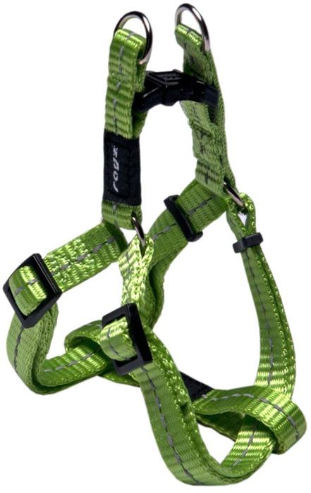 Шлейка для собак Rogz Utility , разъемная, цвет: зеленый, ширина 1,1 см, обхват шеи 20-31 см, обхват груди 23-37 см. Размер SSSJ14LВидимость ночью. Светоотражающая нить, вплетенная в нейлоновую ленту для обеспечения лучшей видимости собаки в темное время суток. Специальная конструкция пряжки Rog Loc - очень крепкая (система Fort Knox). Замок может быть расстегнут только рукой человека. Технология распределения нагрузки позволяет снизить нагрузку на пряжки, изготовленные из титанового пластика, с помощью правильного и разумного расположения грузовых колец, благодаря чему, даже при самых сильных рывках, изделие не рвется и не деформируется.Особые контурные пластиковые компоненты.Выполненные специально по заказу ROGZ литые кольца гальванически хромированы, что позволяет избежать коррозии и потускнения изделия.