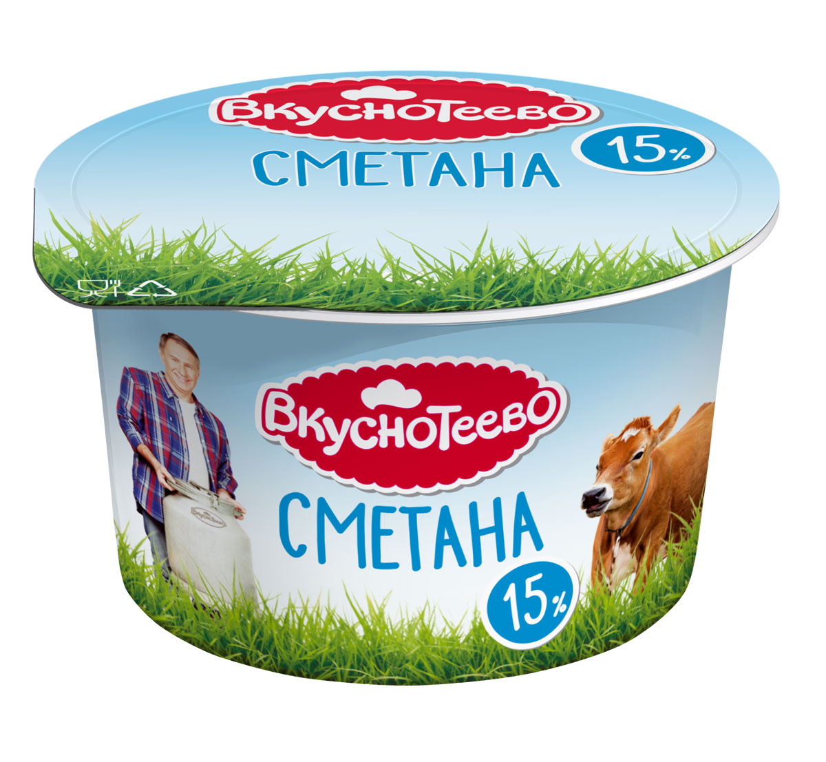 Вкуснотеево Сметана 15%, 150 г конфэшн минутки вафли со вкусом сливок айриш крим 165 г