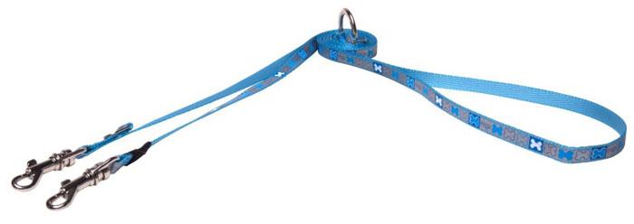 Поводок-перестежка для собак Rogz Reflecto, цвет: голубой, ширина 8 мм. Размер XS поводок перестежка для собак rogz reflecto цвет голубой ширина 8 мм размер xs