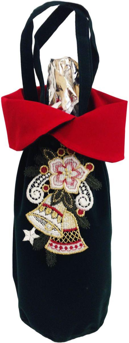 Бархатная упаковка для шампанского. Подвеска легко превращается в кружевное украшение для новогодней елки и интерьера.