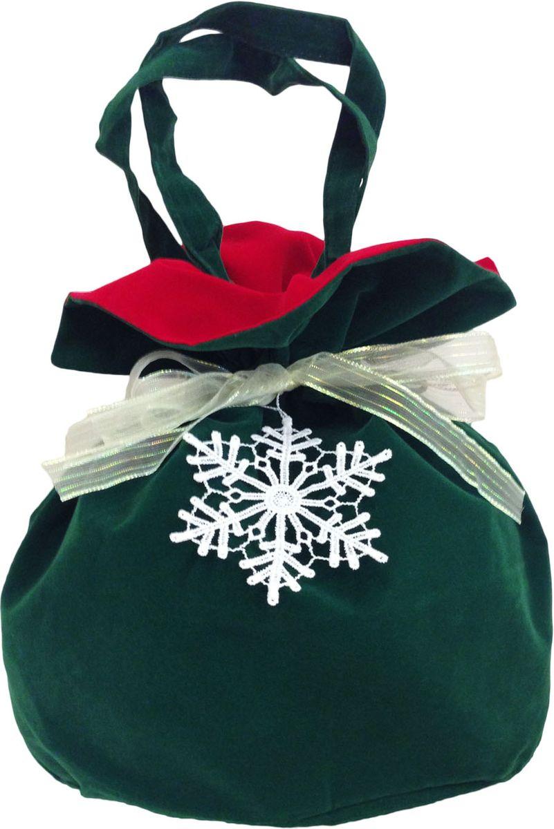 Мешочек подарочный Правила Успеха Снежинка, с ручками, цвет: зеленый, 26 х 28 см4610009215877Бархатный мешок с ручками-завязками. Легко превращается в кружевное украшение для новогодней елки и интерьера.