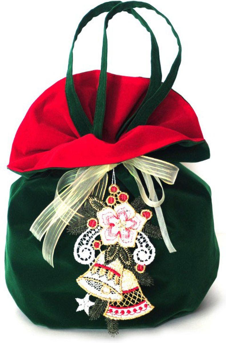 Мешочек подарочный Правила Успеха Колокольчик, с ручками, цвет: зеленый, 26 х 28 см4610009215891Бархатный мешок с ручками-завязками. Легко превращается в кружевное украшение для новогодней елки и интерьера.