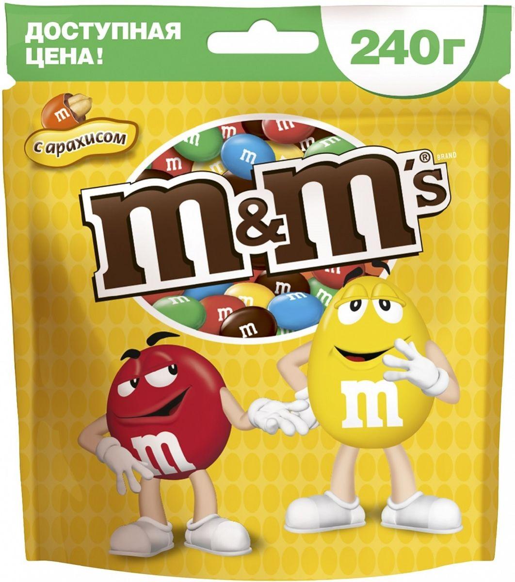 M&M's драже с арахисом и молочным шоколадом, 240 г драже m