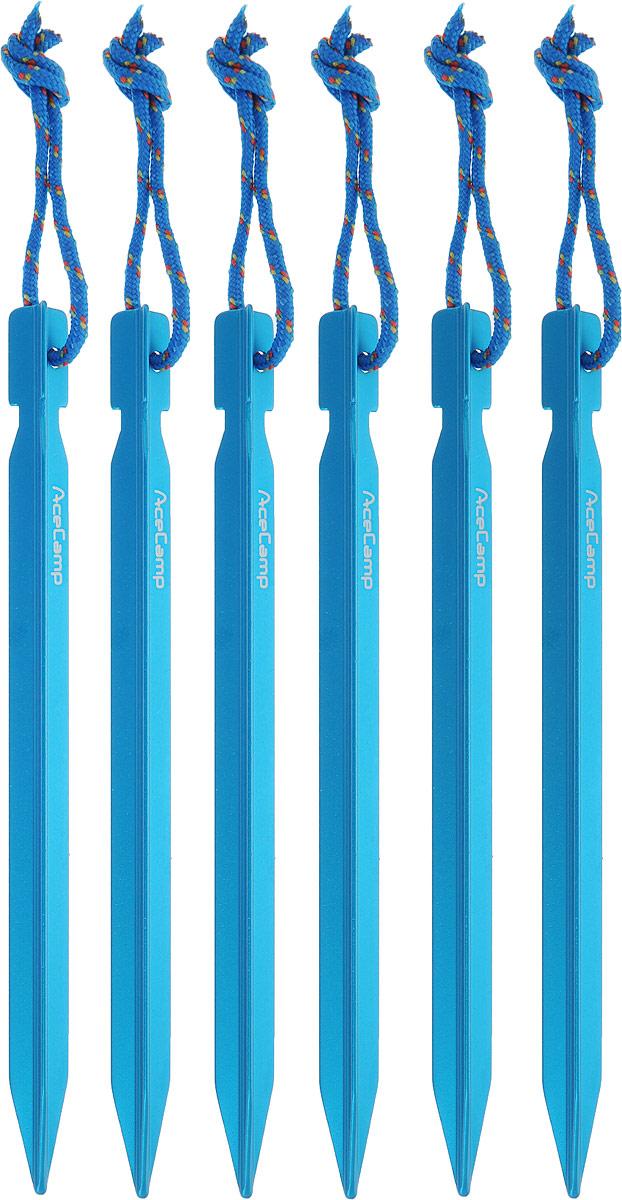 Набор колышков AceCamp AluminumYPeg, с петлями, цвет: синий, 18 см, 6 шт2720_голубойЛегкие прочные колышки AceCamp AluminumYPeg изготовлены из прочного алюминия. Колышки позволяют надежно зафиксировать оттяжки палатки в разных видах грунта. Материал: алюминий. Длина: 18 см.