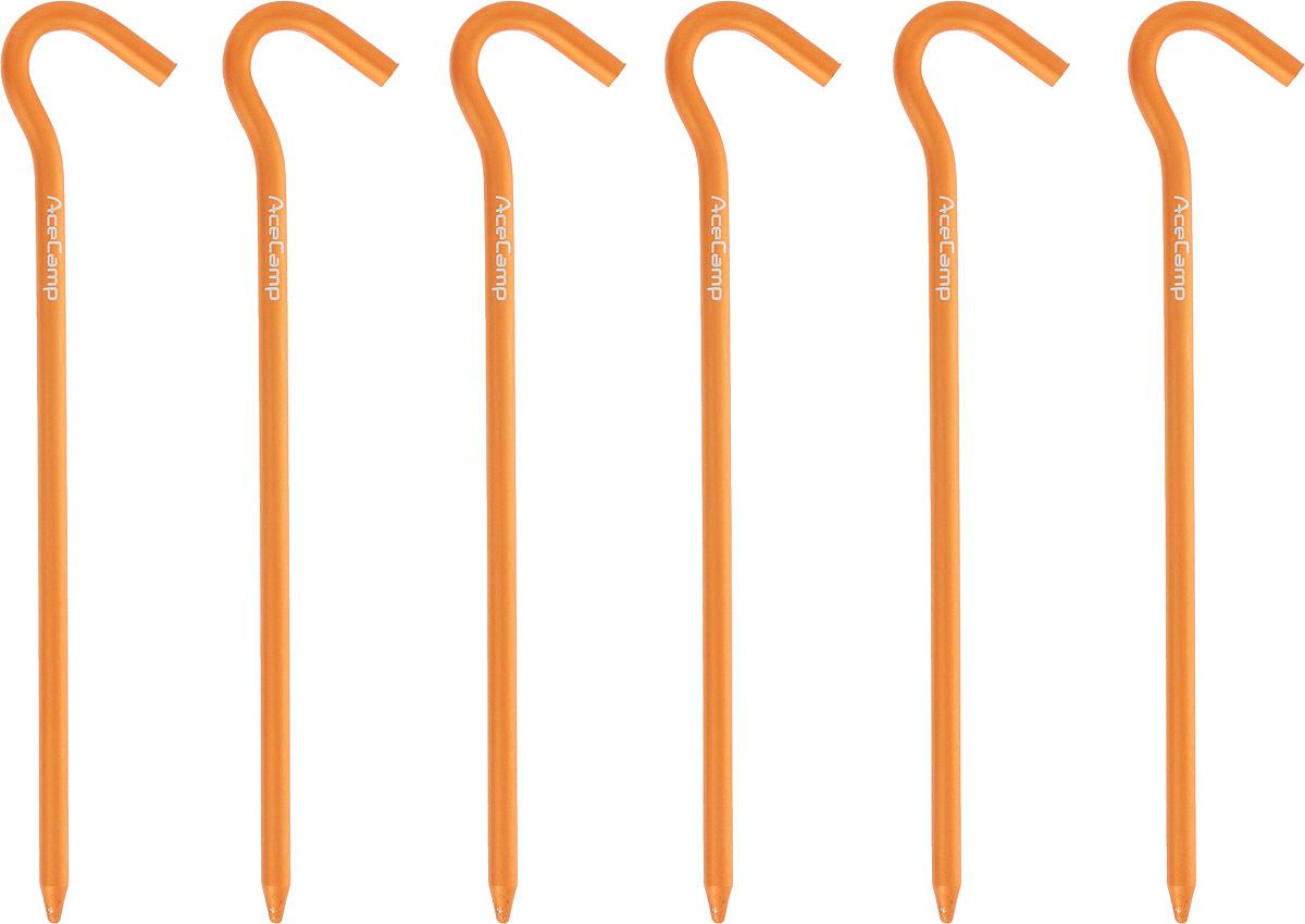Набор колышков AceCamp AluminumTentPeg, цвет: оранжевый, 18 см, 6 шт