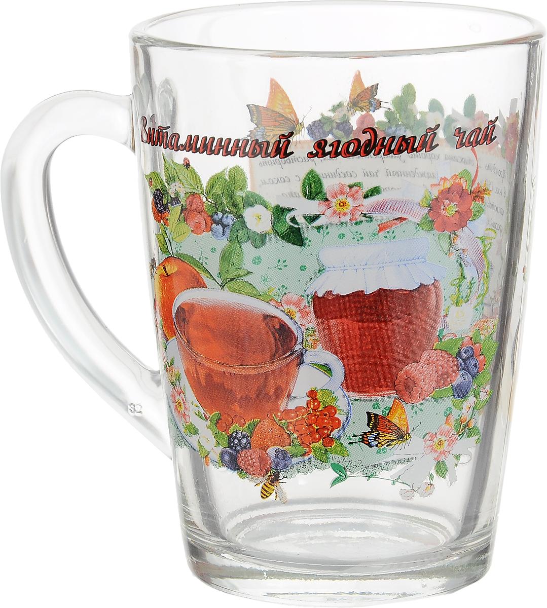 """Кружка чайная Квестор """"Каппучино. Имбирный чай с лимоном"""" изготовлена из бесцветного стекла и украшена ярким рисунком. Идеально подходит для сервировки стола. Кружка не только украсит ваш кухонный стол, но подчеркнет прекрасный вкус хозяйки."""