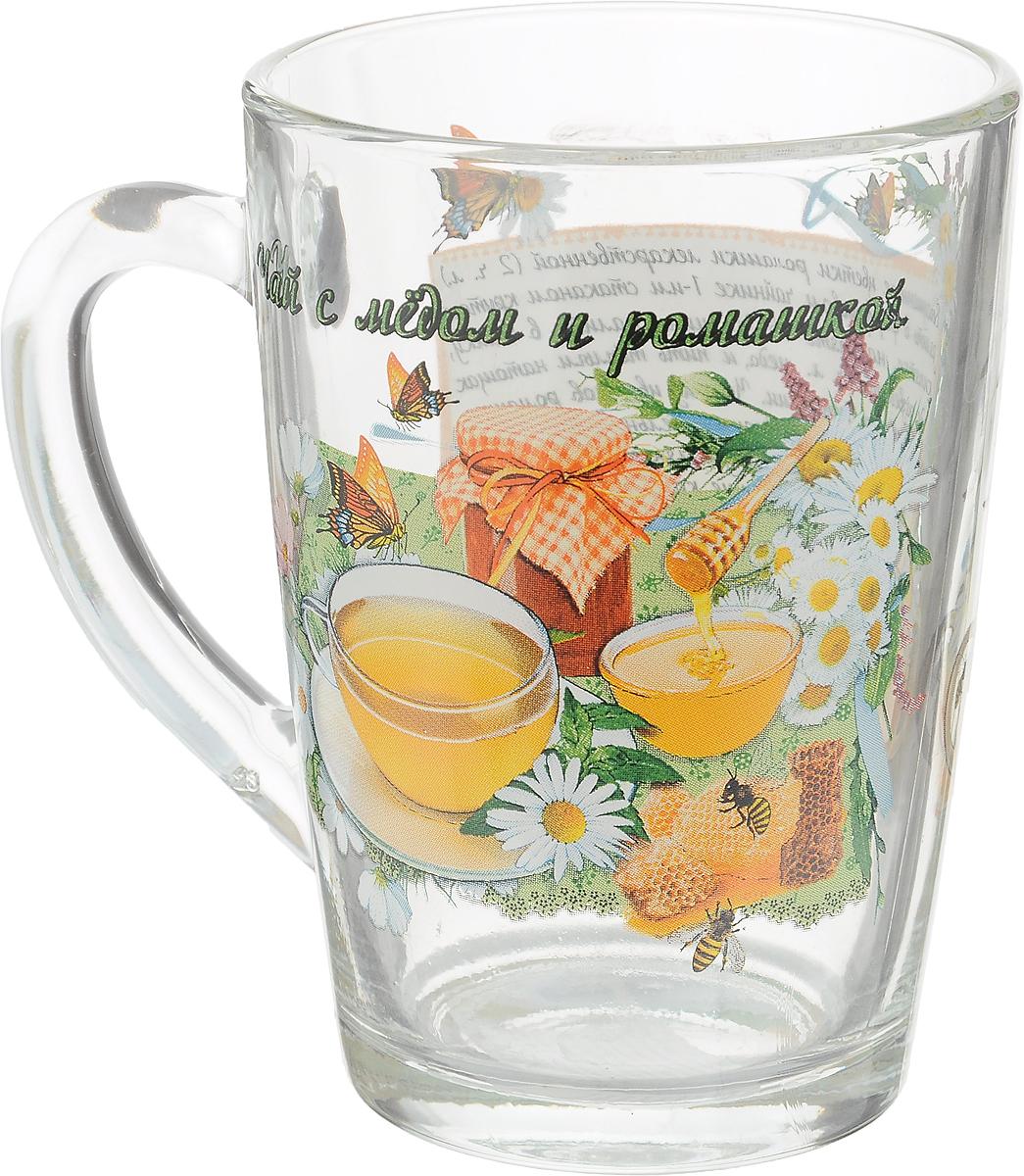 """Кружка чайная Квестор """"Каппучино. Чай с медом и ромашкой"""" изготовлена из бесцветного стекла и украшена ярким рисунком и рецептом приготовления чая с медом и ромашкой. Идеально подходит для сервировки стола.Кружка не только украсит ваш кухонный стол, но подчеркнет прекрасный вкус хозяйки. Диаметр кружки (по верхнему краю): 8 см. Диаметр основания: 6 см. Ширина кружки с учетом ручки: 11 см. Высота кружки: 11 см.Объем кружки: 300 мл."""