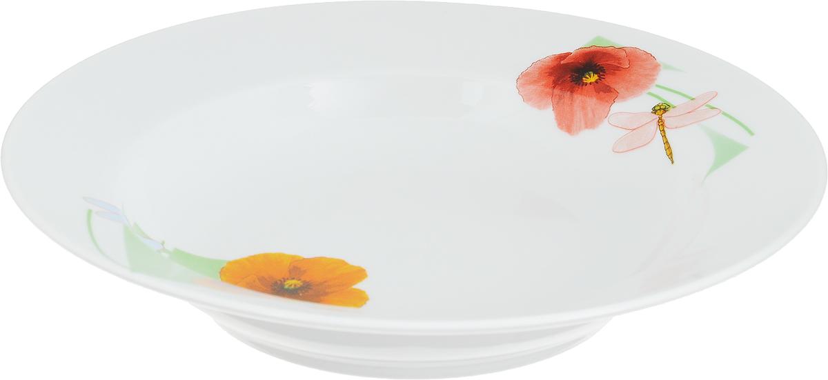 """Тарелка глубокая Дулевский Фарфор """"Июльский мак"""" выполнена из высококачественного фарфора, покрытого глазурью. Изделие дополнено красочным рисунком. Тарелку можно использовать для сервировки различных блюд."""