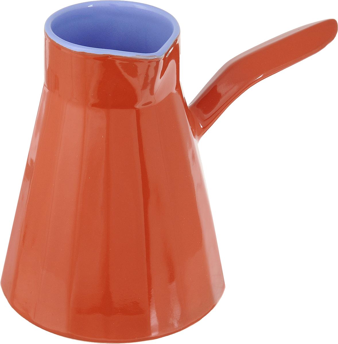 Турка Борисовская керамика Ностальгия, цвет: оранжевый, синий, 600 млРАД14457995Настоящие кофеманы по достоинству смогут оценить турку из глины. Благодаря особойструктуре напиток в ней получается по-настоящему вкусным и благородным. В процессе варки вполной мере раскрывается вся глубина кофейного зерна. Благодаря специальной глазировкетурка Ностальгия, не впитывает вкус и аромат кофе, позволяя варить по очереди разные сорта.Толстые стенки продлевают кипение напитка, даже когда его снимают с огня. Двойной обжигповышает прочность изделия, значительно продляя срок его службы. Правильная форма сшироким донышком и узкой горловиной с блеском сохраняет аромат кофе, а коническая формапозволяет кофейной гуще быстрее оседать на дно.Изделие предназначено дляиспользования на электрических и на газовых плитах. Диаметр горлышка: 6,5 см.Высота стенок: 14,5 см