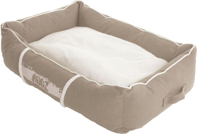 Лежак для собак Rogz Lounge Pod, цвет: бежевый, 56 x 35 x 22 смL005/A_бежевый, белый, черныйСуперкомфортный лежак с бортами и двусторонней подушкой.Съемные чехлы.Легко стираются.Высокая прочность материала.