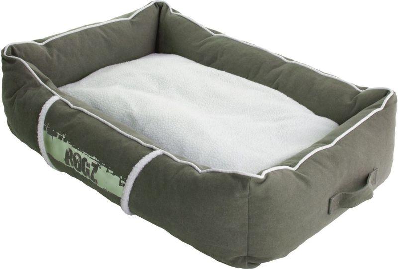 Лежак для собак Rogz Lounge Pod, цвет: оливковый, 56 x 35 x 22 см10904Суперкомфортный лежак с бортами и двусторонней подушкой.Съемные чехлы.Легко стираются.Высокая прочность материала.