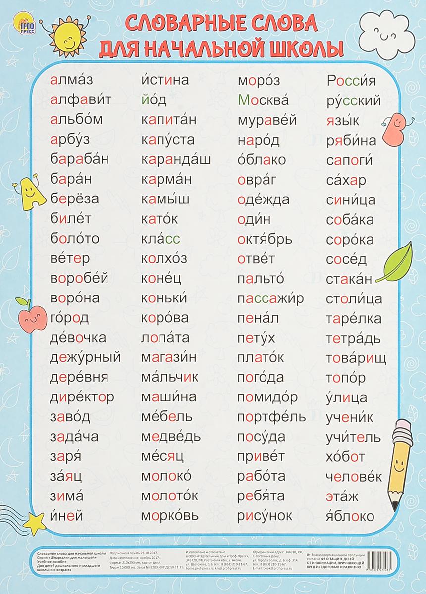 словарные слова 1 до 4 класса