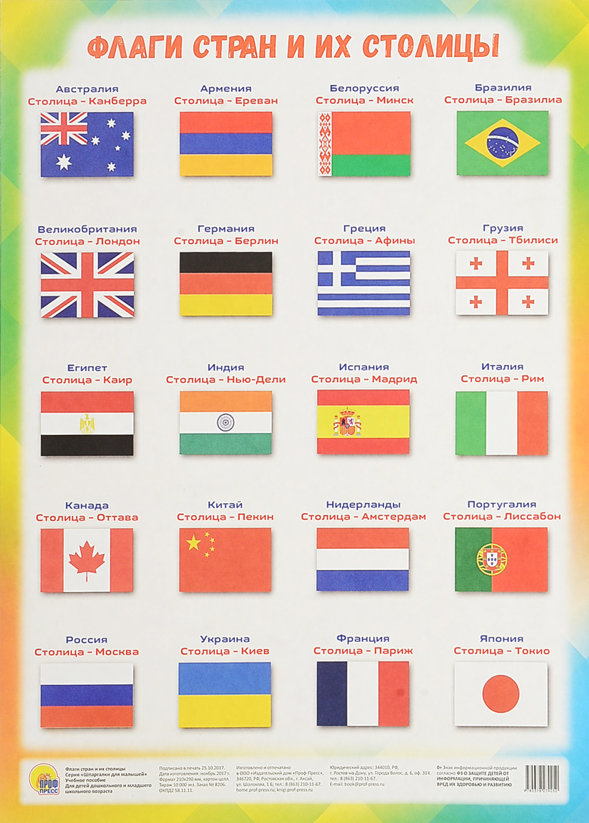 Флаги стран и их столицы. Учебное пособие