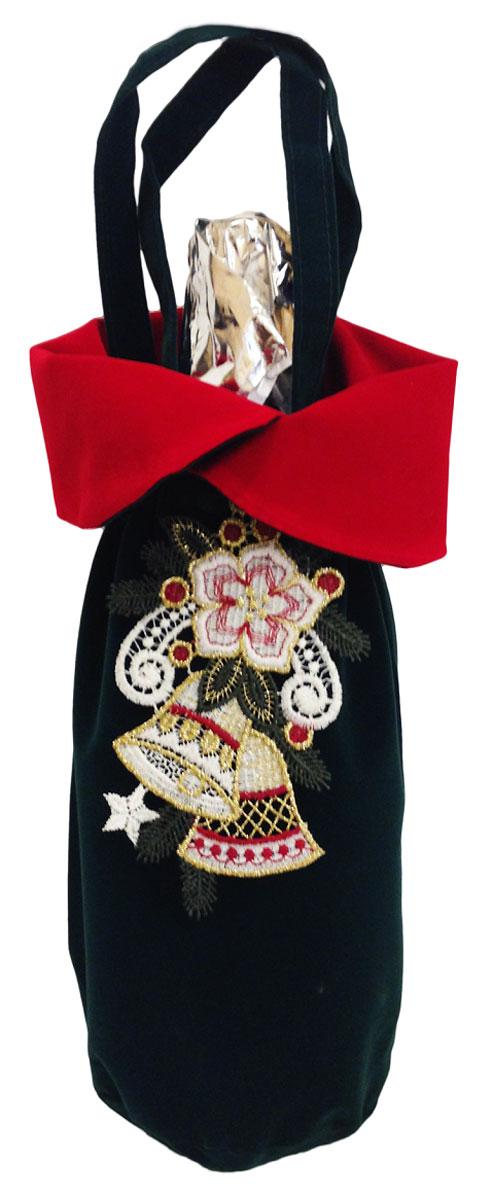 Мешочек подарочный Правила Успеха Колокольчик, цвет: зеленый, 11 х 30 см4610009215839Бархатная упаковка для шампанского. Подвеска легко превращается в кружевное украшение для новогодней елки и интерьера.