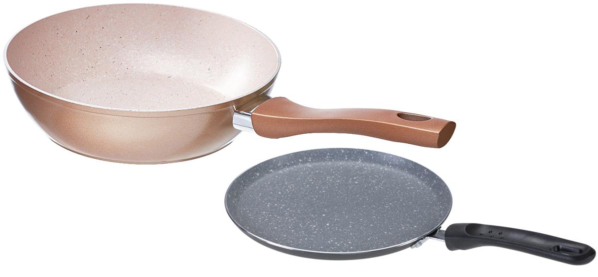 Набор сковородок Walmer Meteorite, 2 шт. W1018240722W1018240722Набор Walmer Meteorite состоит из двух сковородок разного диаметра, 22и 24 см. Ониизготовлены из легкого алюминия и снабжены внутренним антипригарным покрытием особойпрочности. Такое покрытие жаропрочное, защищает сковороду от царапин, экологически чистое иполностью безопасное, без вредных соединений и примесей. Благодаря высокойтеплопроводности алюминия, посуда распределяет тепло по всей поверхности, экономя время иэнергию. Эргономичные ручки сковородок, выполненные из бакелита, не нагреваются и нескользят.Подходят для всех типов плит, включая индукционные.Диаметр большой сковороды (по верхнему краю): 24 см. Диаметр маленькой сковороды (по верхнему краю): 22 см.