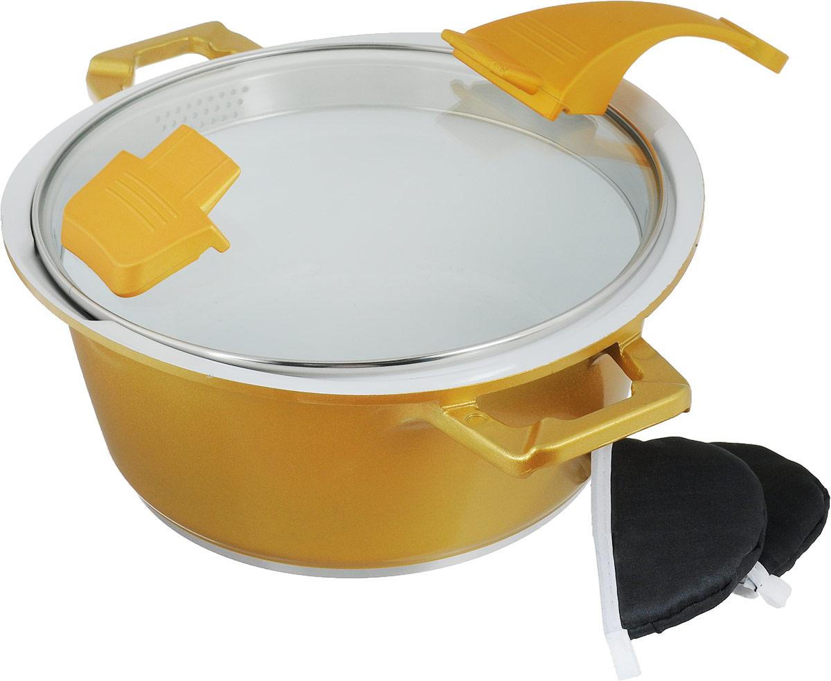 Кастрюля Barton Steel, с керамическим покрытием, цвет: оранжевый, 3,3 л345575Кастрюля BartonSteel изготовлена из алюминия с высококачественным внутреннимпротивопригарным белым керамическим покрытием. Такое покрытие прекрасноподходит для приготовления супов, жарки, пассировки и тушения, в посуде можноприготовить разнообразные блюда из мяса, рыбы, птицы и овощей практически неиспользуя масло. Готовое блюдо получится не только вкусным, но и полезным. Кастрюля оснащена алюминиевыми ручками, которые дополнены текстильными чехлами- прихватками для защиты от ожогов. Крышка из жаропрочного стекла со стальным ободом имеетэргономичную бакелитовую ручку.Корпус посуды с двух сторон оснащен носиками для сливажидкости.Можно использовать на газовых, электрических, галогеновых и индукционныхплитах. Можно мыть в посудомоечной машине.Диаметр кастрюли: 24 см. Высота стенки: 12 см.Толщина дна: 8 мм. Ширина с учетом ручек: 35,5 см.